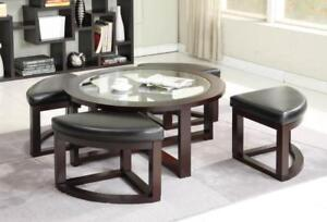 Wooden coffee table with glass top and 4 benches on sale (GL2019)