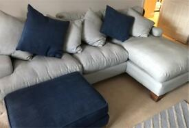 Medium Right Hand Chaise Sofa & Footstool