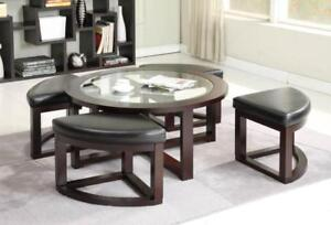 GLASS COFFEE TABLE WITH STOOLS UNDERNEATH | CALL 905-451-8999 OR VISIT ONLINE FOR GREAT DEALS (BD-226)