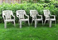 - - - Set of 4 PLASTIC Stacking Lawn Chairs'- - -