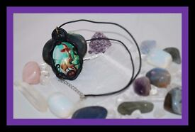 Handmade Polymer Clay Wrapped Cabochon Necklace