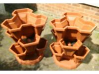 Self Watering Plastic Plant & Flower Pots - 2 Sets of 3 Stackable Planter Tubs