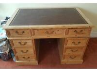 Leather Topped Pedestal Writing Desk
