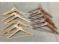 15 wooden clothes hangars