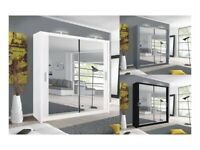 ☀️💚☀️ FAST DELIVERY☀️💚☀️NEW BERLIN 2 DOOR SLIDING WARDROBE WITH FULL MIRROR -EXPRESS DELIVERY
