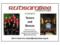Tenors and Basses Wanted for Rudsambee Company of Singers