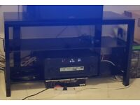 Sturdy metal and glass TV console