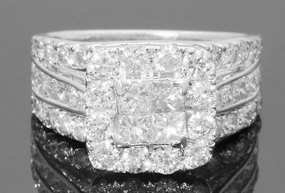 10K WHITE GOLD 3.50 CARAT WOMEN PRINCESS DIAMOND ENGAGEMENT RING WEDDING BRIDAL