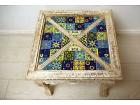 beautiful antique hand carved solid wood and tiled side table