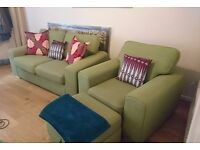 DFS 2 Seater Sofa, Armchair and Storage Footstool