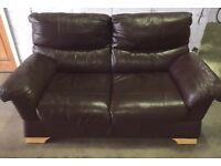Brown Leather 2-Seater Sofa
