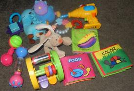 Large Bundle of 12 used toys preowned job lot rattles soft plastic music books baby girl boy unisex