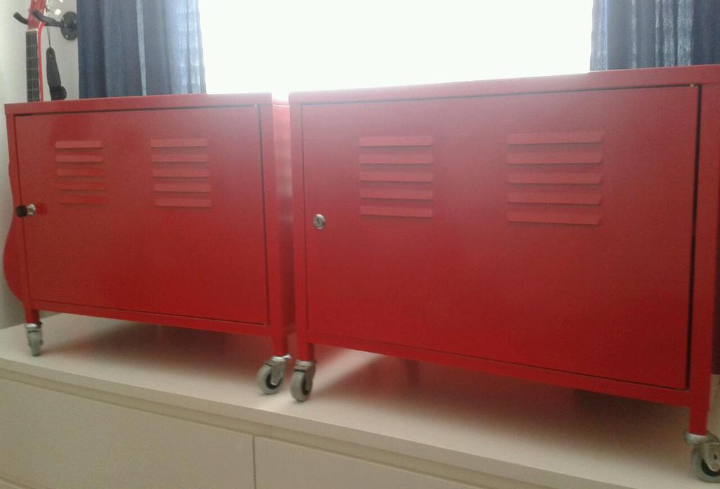 Pair Ikea Ps Red Metal Storage Bedside Locker Cabinets