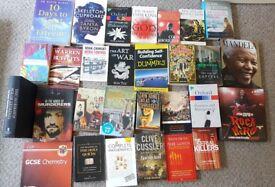 Assortment of books (psychology, history, politics, fiction, etc.)