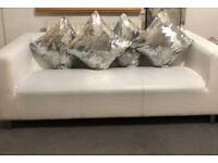 3 Seater Faux Leather Sofa White