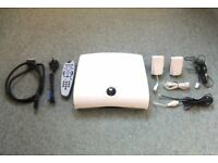 Sky plus multi-room box, with Sky card, WiFi transmitter and receiver, remote, and all cables.