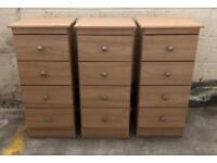 3 Wooden Bedside Drawers