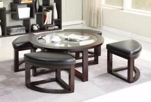 COFFEE TABLE WITH STOOL ON SALE -  -VISIT WWW.KITCHENANDCOUCH.COM FOR MORE DESIGNS! (BF-31