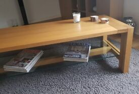 COFFEE TABLE - solid chunky wood and glass table