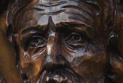 19C English Gothic Carved Oak Sherwood Forest Fantasy Figural Mask Pedestal