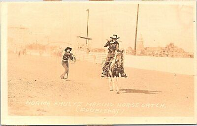 RPPC Rodeo Scene Norma Shulyz Making Horse Catch 1930s