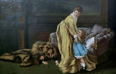 Antico Quadro Ad Olio Su Tela, Presumo Del 1700, Stile Credo Barocco