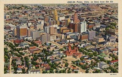 Postcard Tulsa Oklahoma as Seen from Air Aerial View Linen c1940s NrMINT