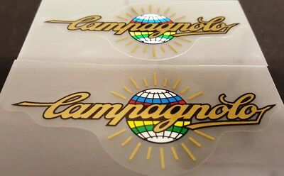 Campagnolo in Gold on Carbon-pattern vinyl Chain guard decal
