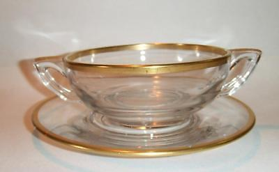 Clear Cream Soup Bowl (Handled Cream Soup Bowl Plate Clear Gold Band Art)