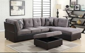 Sectional with ottoman/ choose grey or chocolate,  899