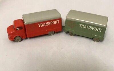 RARE LEGO VINTAGE 1950's 60's MERCEDES TRANSPORT BOX TRUCK w/ TRAILER SET
