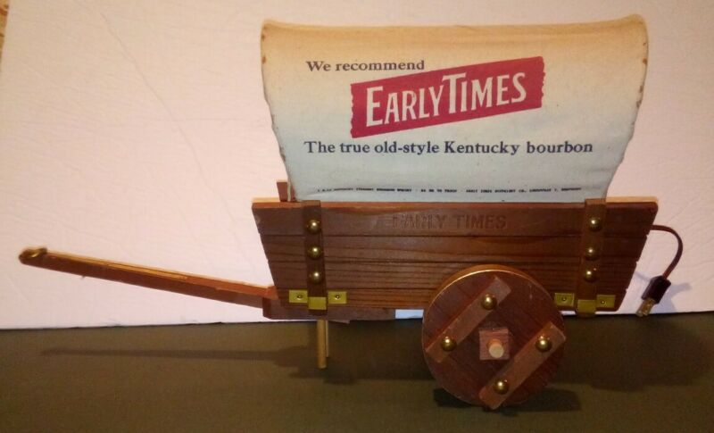 Vintage Early Times Kentucky Bourbon Covered Wagon Table Lamp Advertising Light