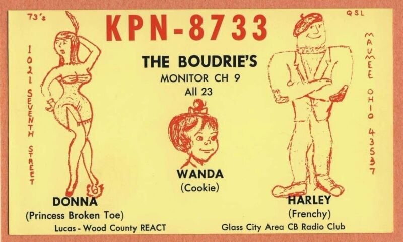 QSL Card OHIO OH Maumee KPN8733 Donna Harley Boudrie Indian princess frenchy