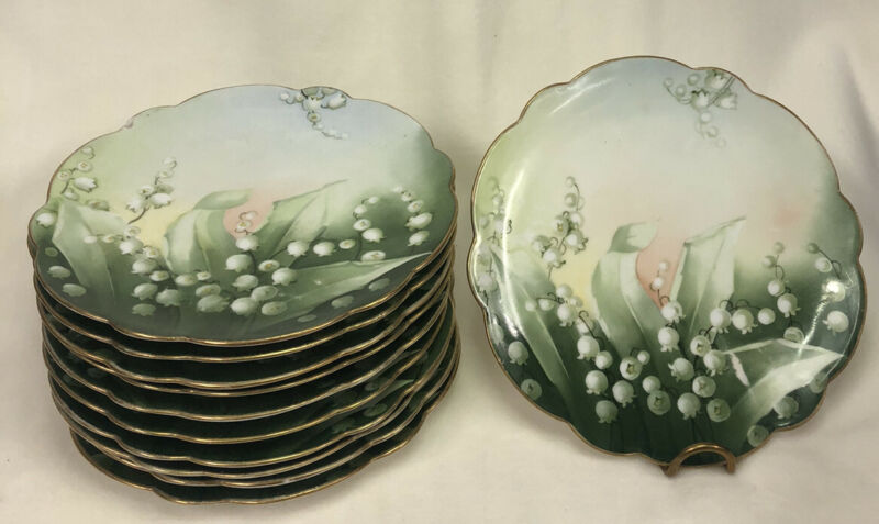Vienna Austria Hand Painted China Brushed Gold Plate, Green SET OF 11