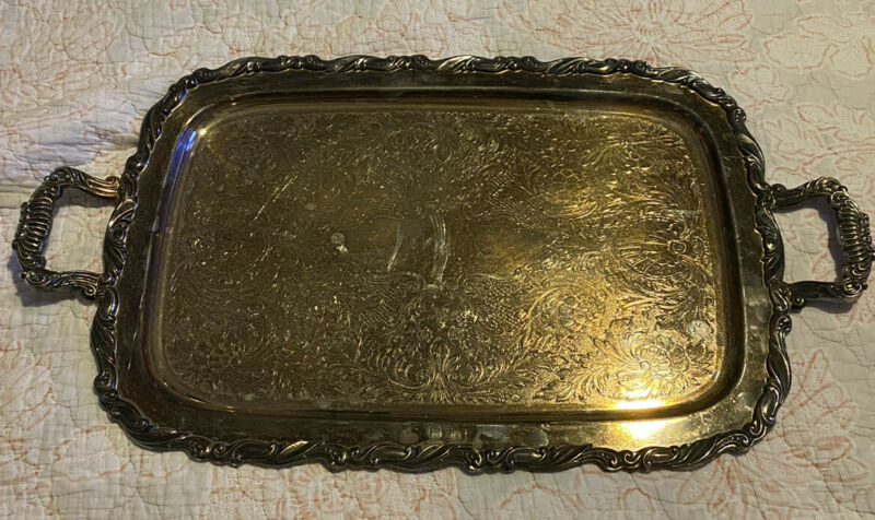 ONEIDA LARGE ORNATE SILVER SERVING TRAY WITH HANDLES