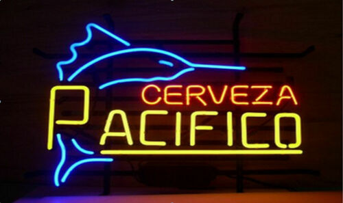 "Cerveza Pacifico Swordfish Neon Light Sign 17""x14"" Beer Gift"