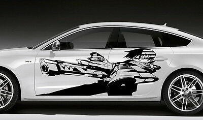CAR VINYL ANIME STICKER GRAPHICS GUY WITH TWO GUNS D1693