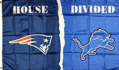 New England Patriots vs Detroit Lions House Divided Flag 3x5 ft Sports Banner