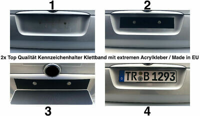 2x Premium Klett Rahmenlos Kennzeichenhalter Für EU Kennzeichen 30 cm bis 52 cm