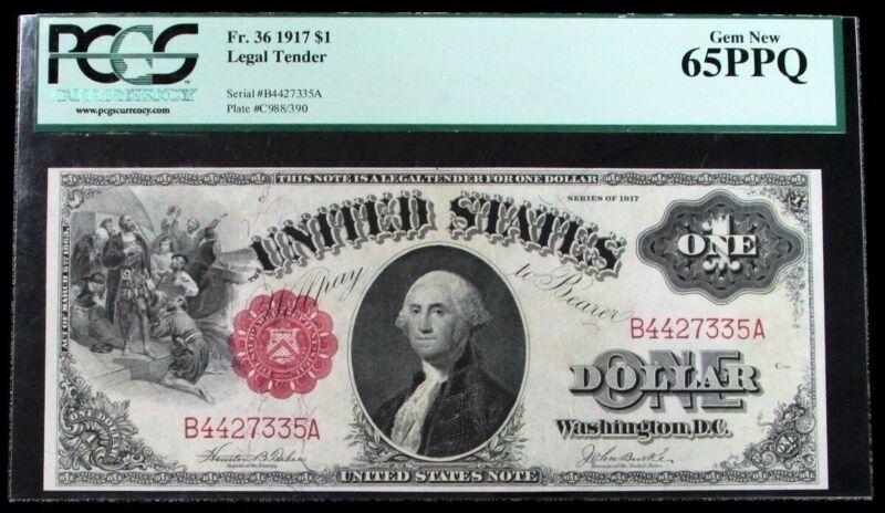 1917 USA $1 DOLLAR LEGAL TENDER WASHINGTON NOTE FR#36 PCGS GEM NEW 65 PPQ