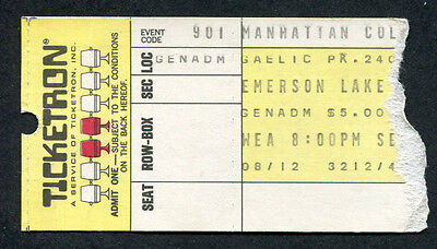 1971 Emerson Lake & Palmer Concert Ticket Stub Gaelic Park New York Tarkus