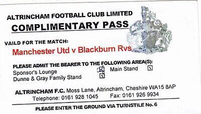 Ticket - Manchester United Res v Blackburn Rovers Res (Undated) @ Altrincham
