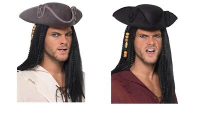 icorn Pirate Captain Hat Black Or Grey Jack Sparrow Stag Fun (Jack Sparrow Hats)