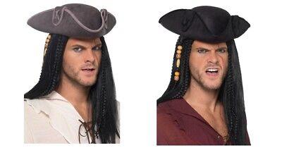 Men's Fancy Dress Tricorn Pirate Captain Hat Black Or Grey Jack Sparrow Stag Fun