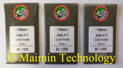 30 80/12 SHARP ORGAN TITANIUM FLAT SHANK 15X1 HAX1 HOME SEWING MACHINE NEEDLES
