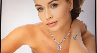 DIAMOND ACCENT HEART CHARM NECKLACE AND BRACELET SET Diamond Accent Bracelet And Necklace