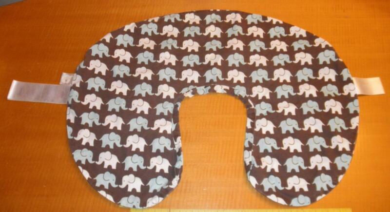 Original Boppy Classic Pillow Case Slip Cover blue white brown Elephants Walk