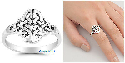 Sterling Silver 925 CELTIC WITH INFINITY HEART DESIGN BAND RING 14MM SIZES 4-10 925 Silver Celtic Ring