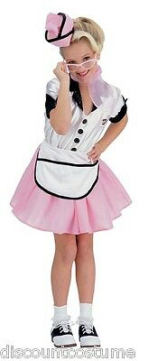 50's Diner Girl Halloween Kostüm (SODA POP GIRL 50's CAR HOP DINER WAITRESS GIRL'S HALLOWEEN COSTUME LARGE 12-14)