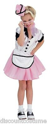 SODA POP GIRL 50's CAR HOP DINER WAITRESS GIRL'S HALLOWEEN COSTUME LARGE 12-14](50's Diner Waitress Halloween Costume)
